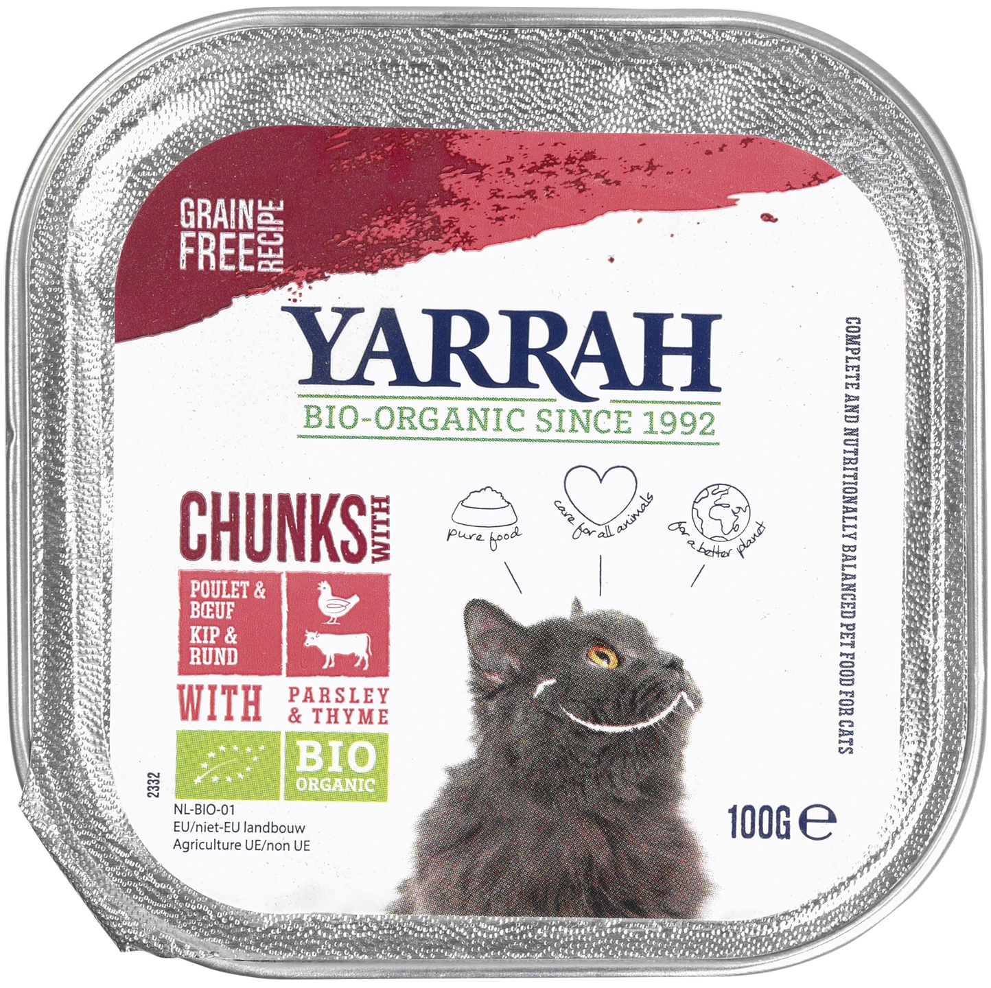 Biologische Yarrah Kattenbrokjes kip rund 100 gr