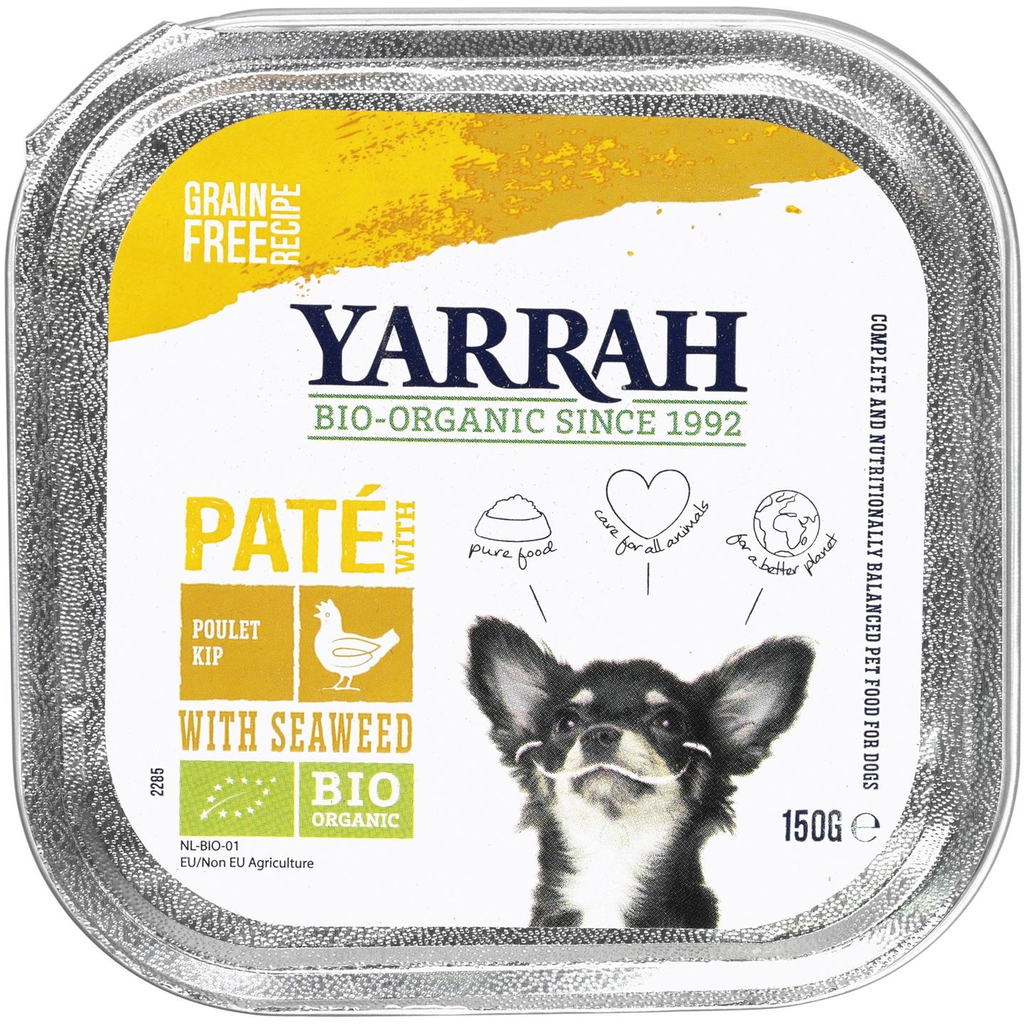 Biologische Yarrah Hond paté kip 150 gr