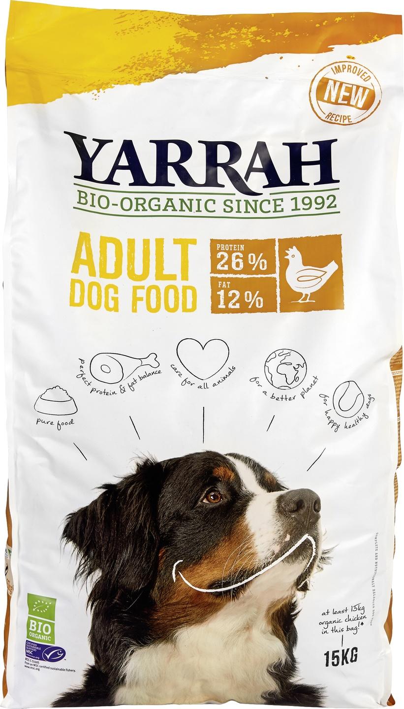 Biologische Yarrah Hond brokjes kip/graan 15 kg