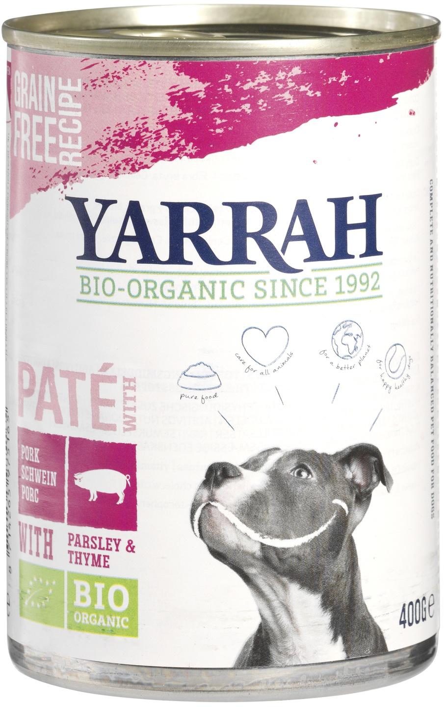 Biologische Yarrah Hond paté varken graanvrij 400 gr