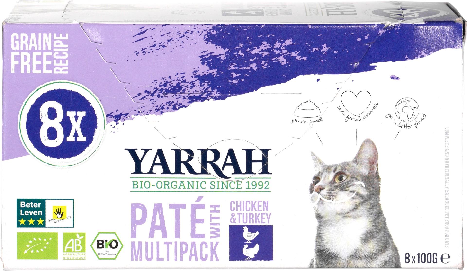 Biologische Yarrah Kattenpaté multipack 800 gr