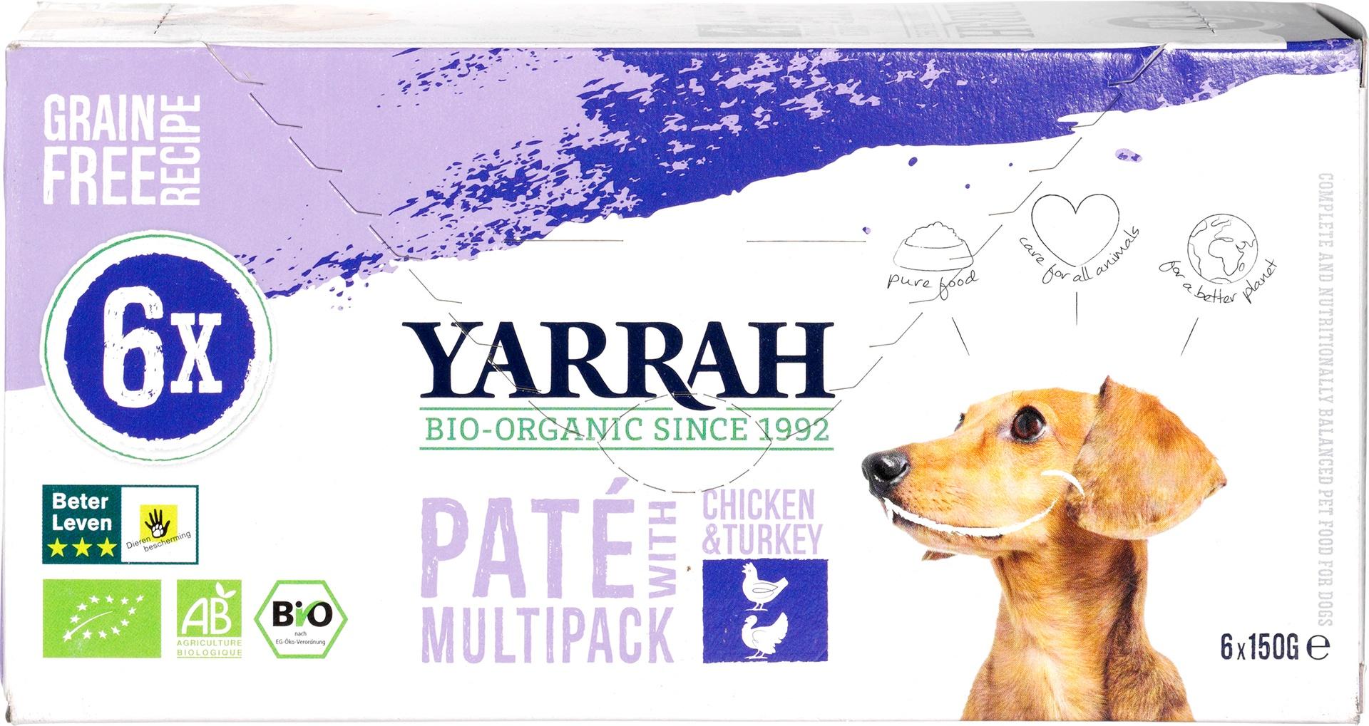 Biologische Yarrah Multipack hond paté met kip en kalkoen 900 gr