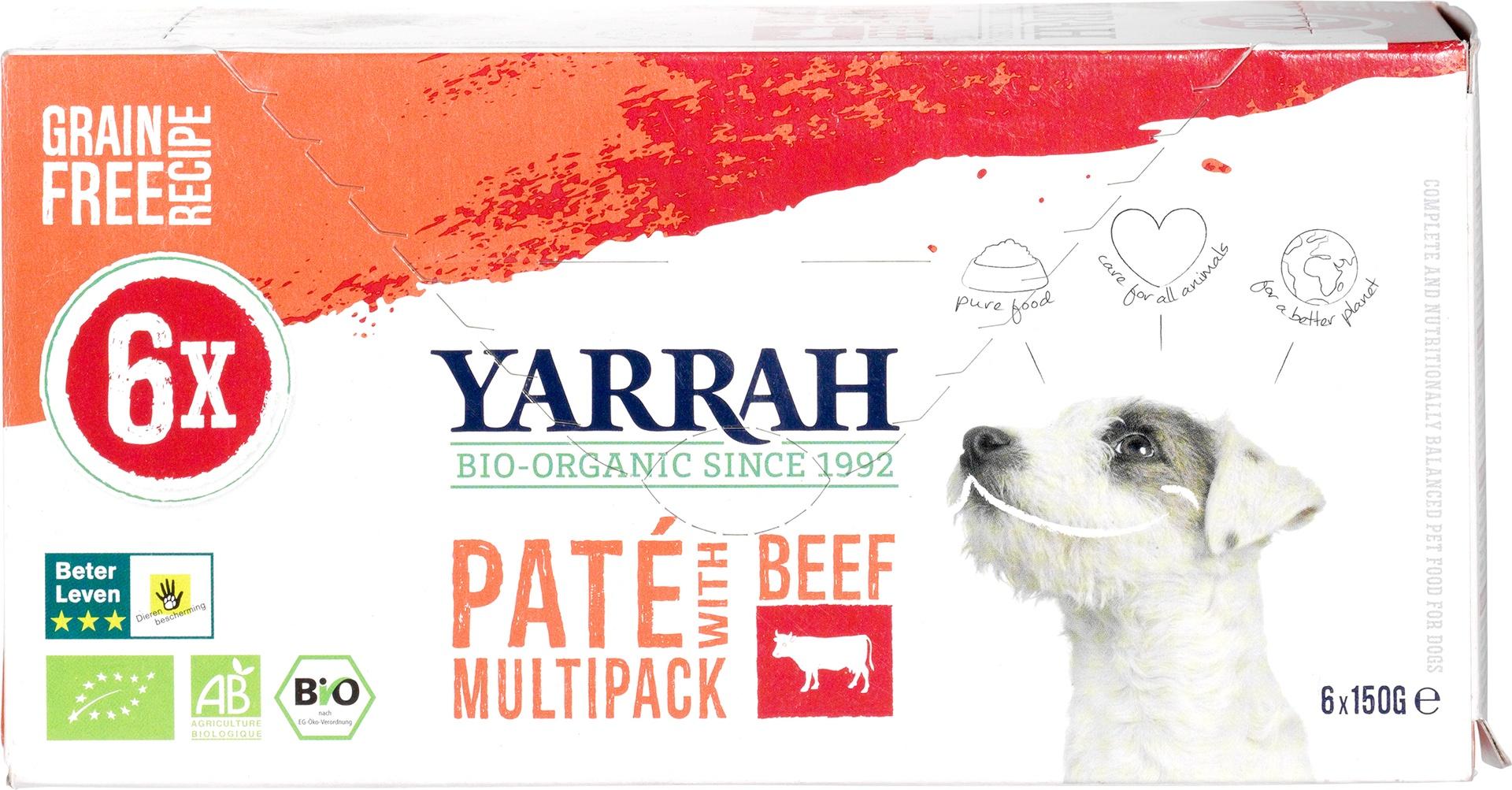 Biologische Yarrah Multipack hond paté rund kip 900 gr