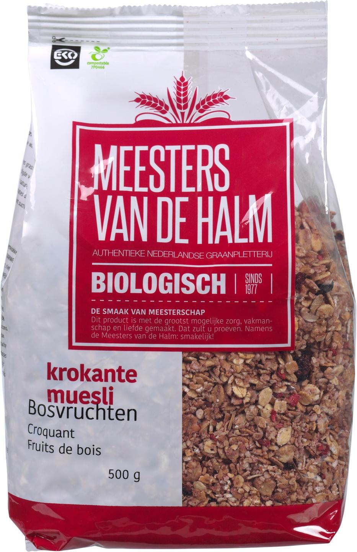 Biologische Meesters van de Halm Krokante muesli bosvruchten 500 gr