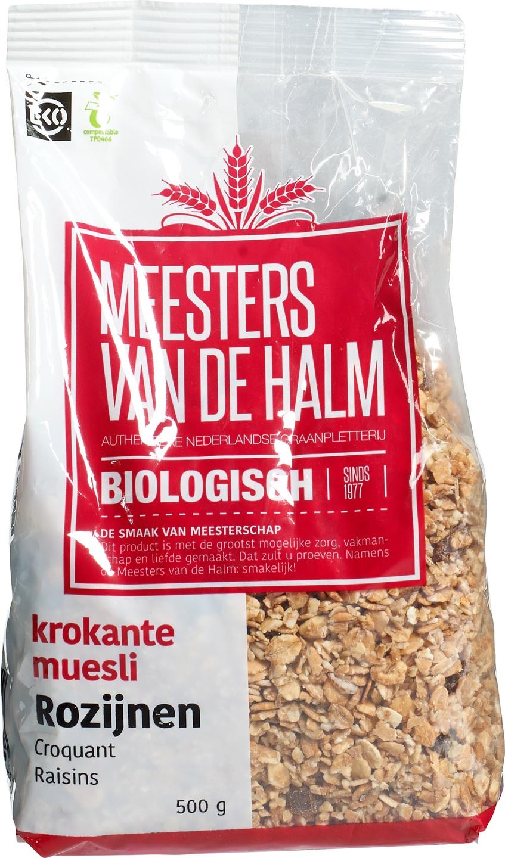 Biologische Meesters van de Halm Krokante muesli rozijnen 500 gr