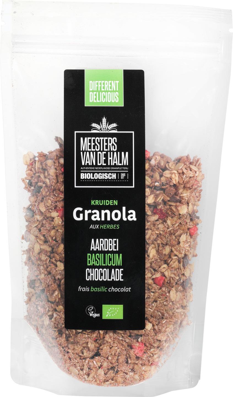 Biologische Meesters van de Halm Granola aardbei, basilicum en chocolade 350 g