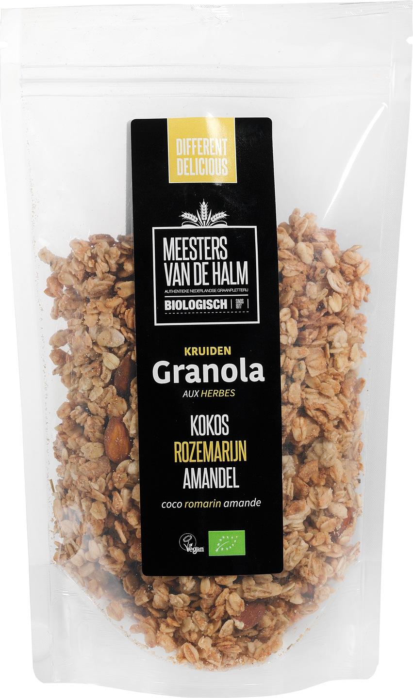 Biologische Meesters van de Halm Granola kokos, rozemarijn en amandelen 350 g