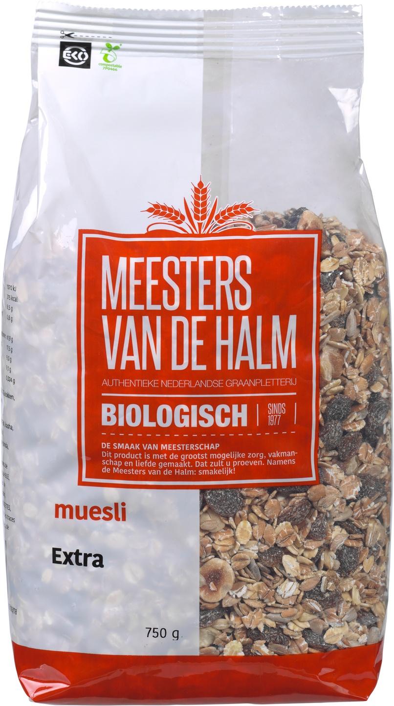 Biologische Meesters van de Halm Muesli extra 750 gr