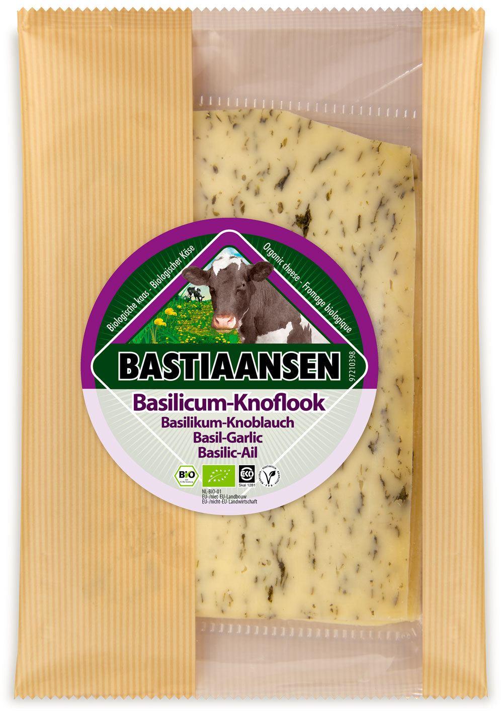 -26% SALE | Biologische Bastiaansen Plakjes kaas basilicum/knoflook 150 gr