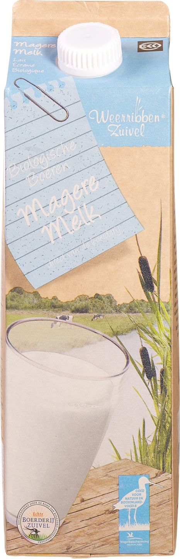Biologische Weerribben Zuivel Magere melk 1 L