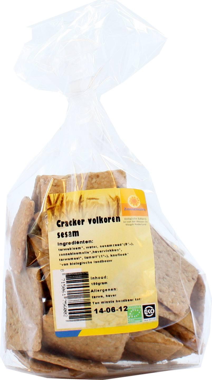 Biologische Zonnemaire Cracker volkoren sesam 150 gr