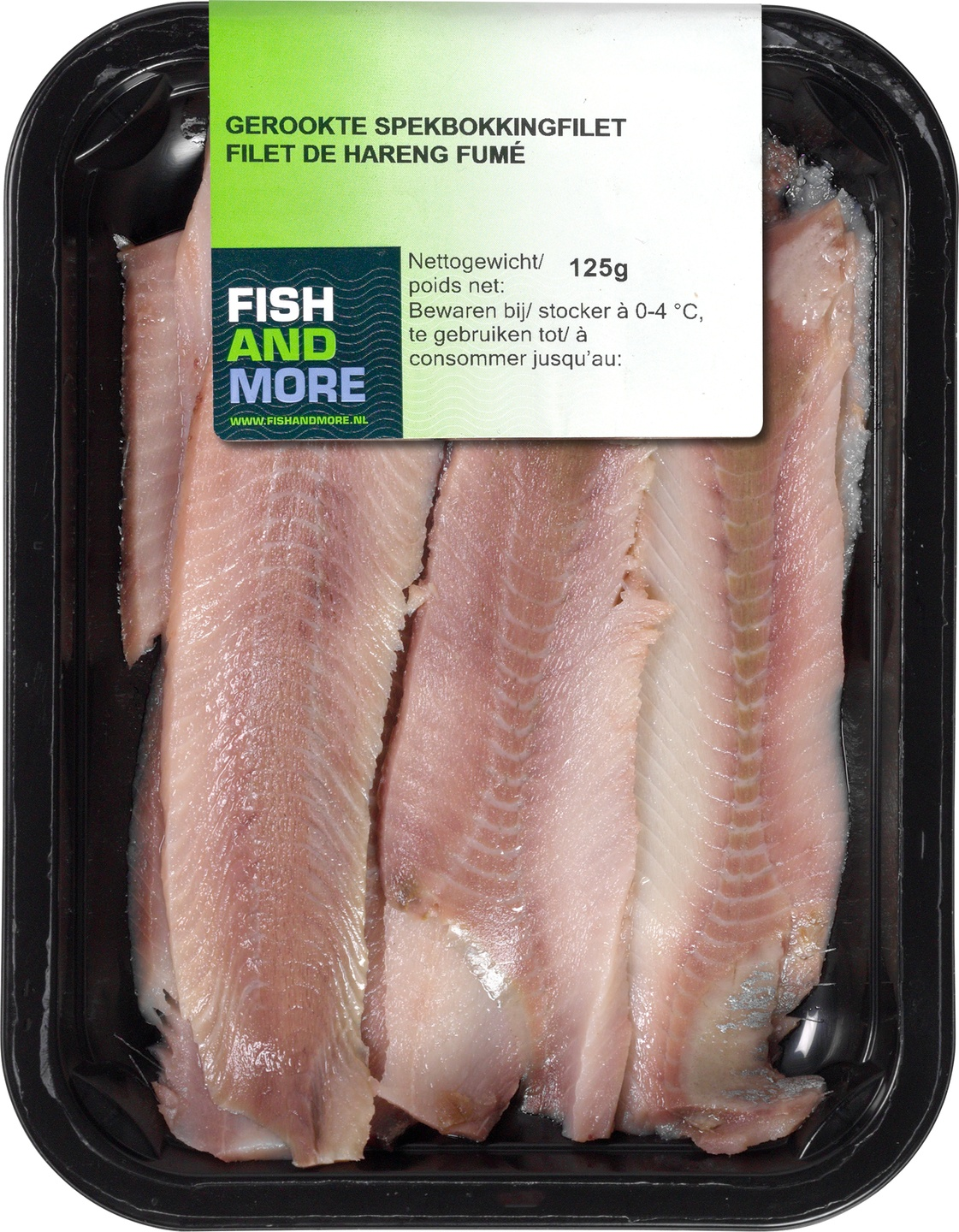 Biologische Fish and More Gerookte spekbokkingfilet 125 gr
