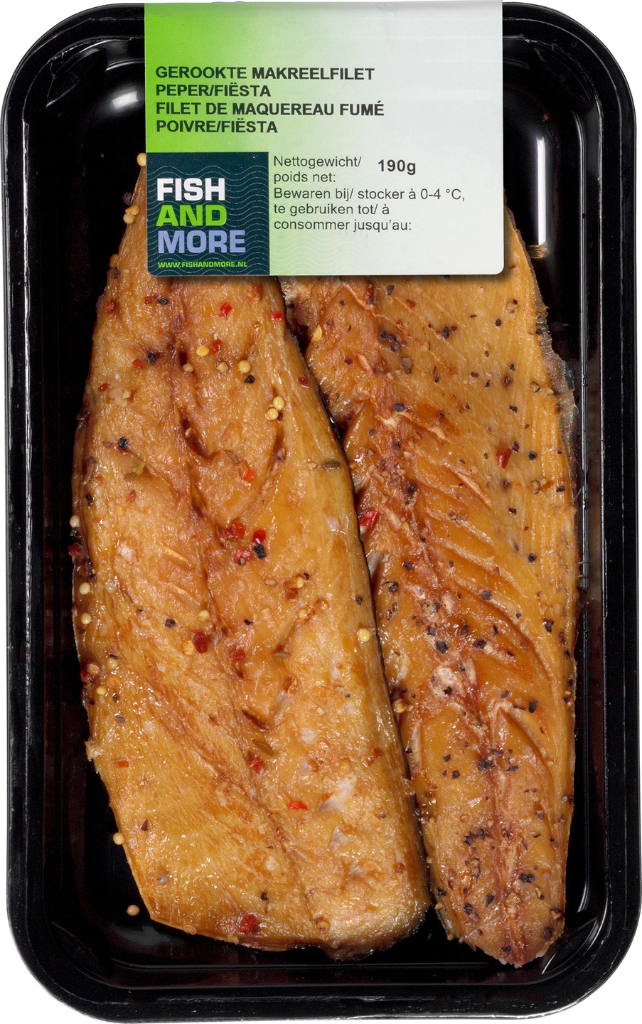 Biologische Fish and More Makreelfilet naturel peper 190 gr