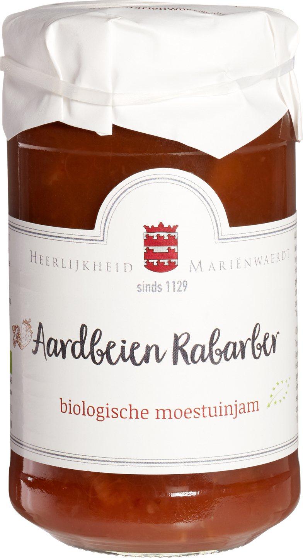 Biologische Mariënwaerdt Rabarber aardbeienjam 250 gr