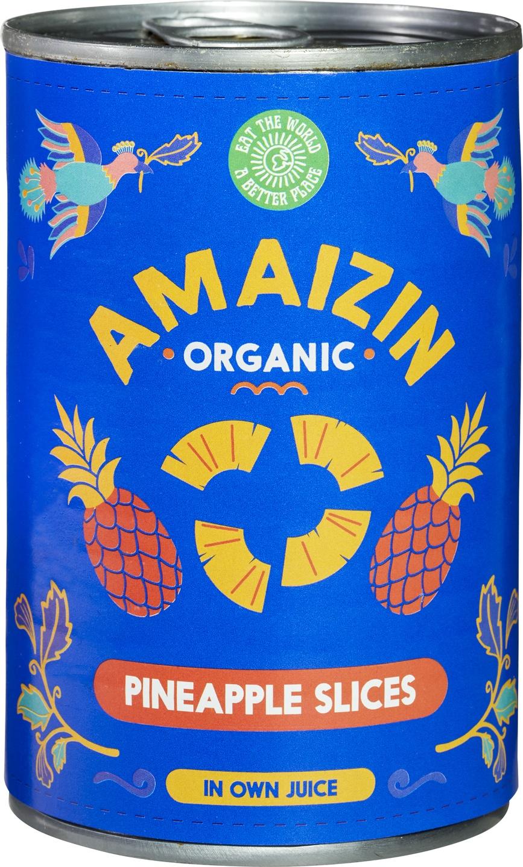 Biologische Amaizin Ananasschijven op sap 400 ml