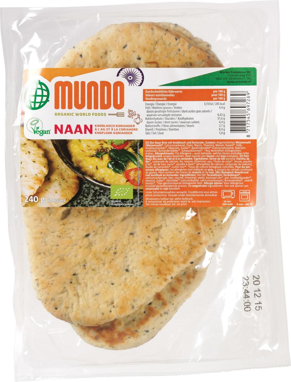 Biologische O Mundo Naanbrood knoflook/ koriander 2 st