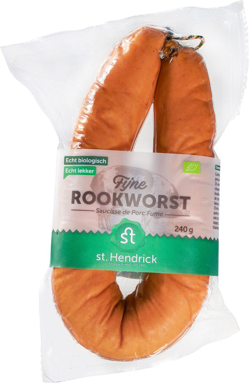 Biologische St. Hendrick Rookworst fijn varken 240 gr
