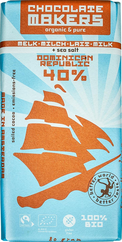 Biologische Chocolatemakers Melkchocolade zeezout - Tres Hombres 85 gr