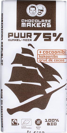 -14% SALE | Biologische Chocolatemakers Pure chocolade 75% - Tres Hombres 85 gr