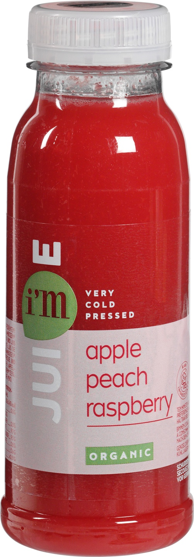 Biologische I'm juice Appel-perzik-frambozensap 250 ml