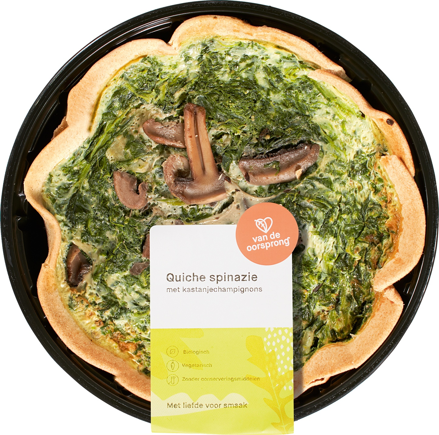 Biologische De Oorsprong Quiche spinazie-kastanjechampignons 350 gr