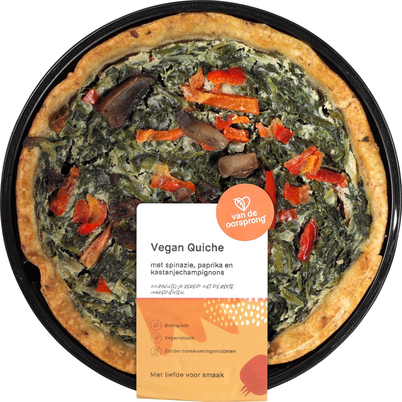 Biologische De Oorsprong Vegan quiche spinazie, paprika en champignons 350 g