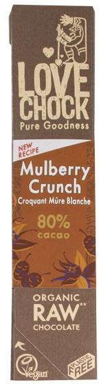 Biologische Lovechock RAW Chocolade Mulberry Crunch 40 gr