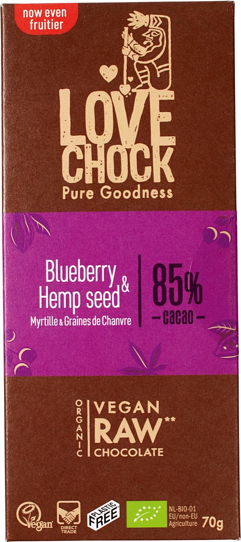Biologische Lovechock RAW chocolade blueberry/hemp 70 gr