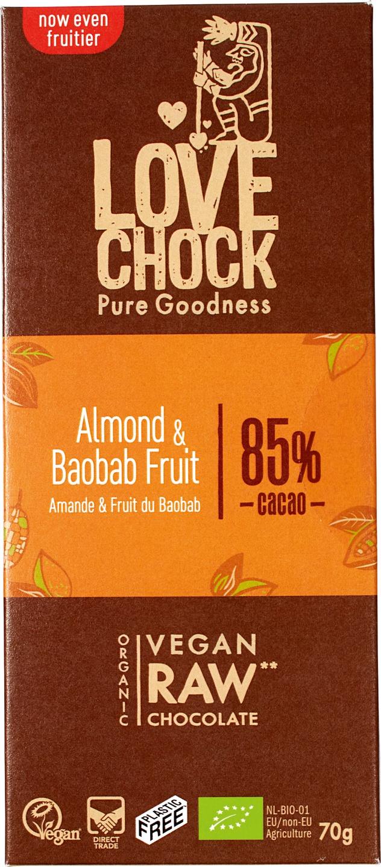 Biologische Lovechock RAW chocolade amandel/baobab 70 gr