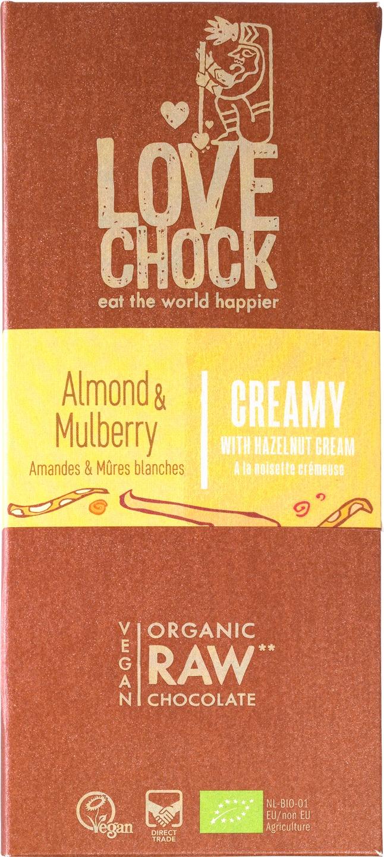 Biologische Lovechock RAW chocolade mylk amandel/moerbei 70 gr
