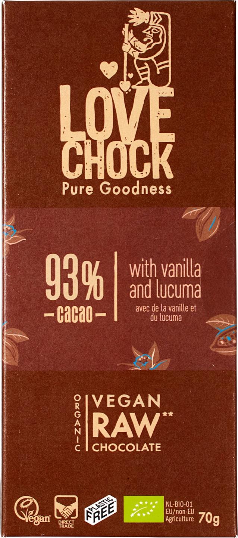 Biologische Lovechock RAW chocolade puur 93% 70 gr
