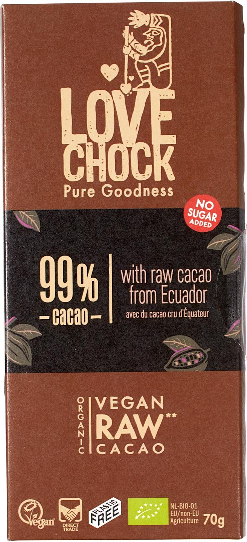 Biologische Lovechock RAW chocolade extra puur 99% 70 g