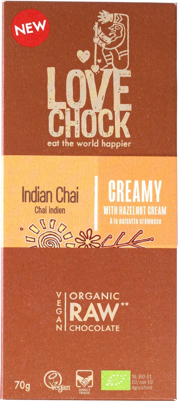 Biologische Lovechock RAW chocolade creamy Indian chai 70 g