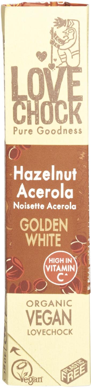 Biologische Lovechock RAW chocolade hazelnoot/acerola 40 gr