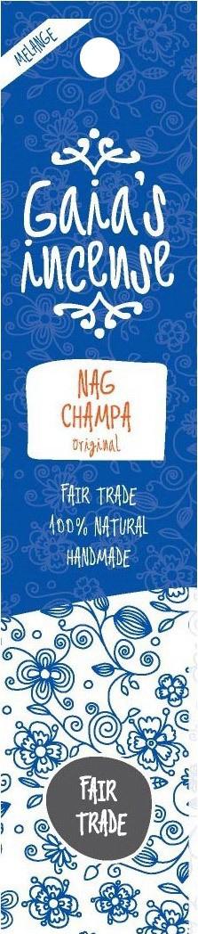 Biologische Gaia's incense Wierook nag champa 15 st