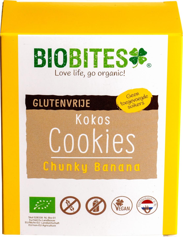 Biologische Biobites Kokos Cookies Chunky Banana 65 gr