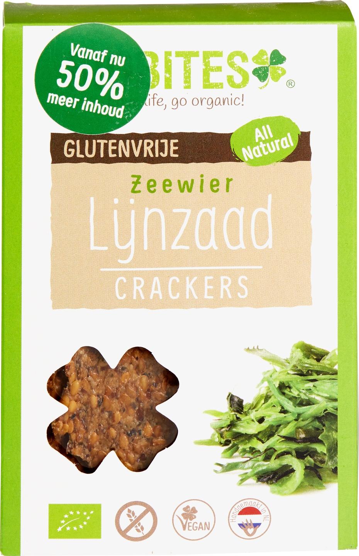 Biologische Biobites Lijnzaad crackers zeewier 90 gr