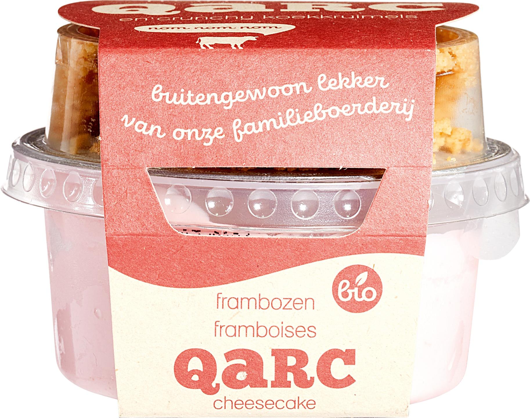 Biologische Qarc Frambozenkwark met koekkruimels 135 gr