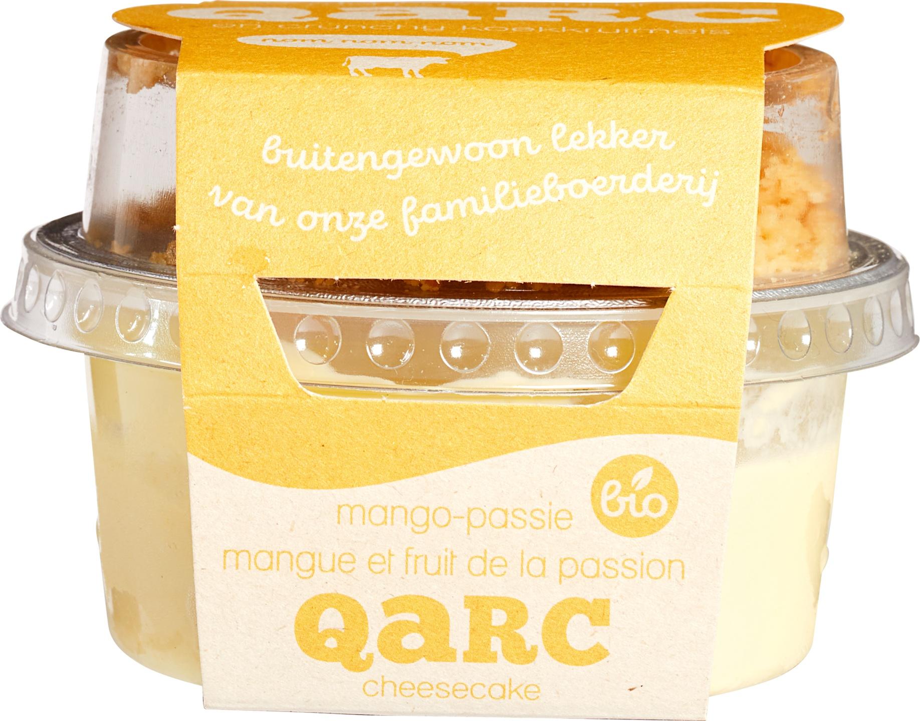 Biologische Qarc Mango passievruchtkwark met koekkruimels 135 gr