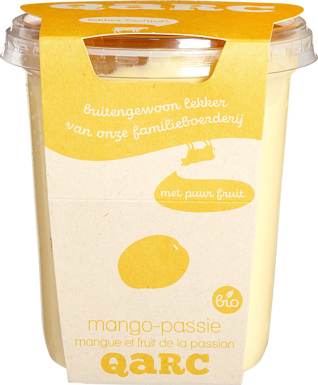 Biologische Qarc Vruchtenkwark mango passievrucht 400 gr