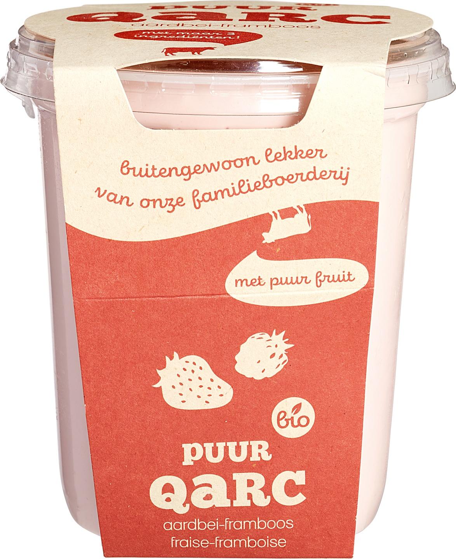 Biologische Qarc Halfvolle kwark aardbei framboos 400 gr