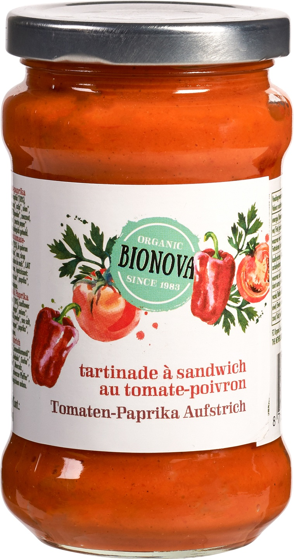 Biologische Bionova Sandwichspread tomaat-paprika 280 gr