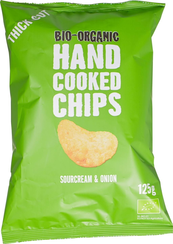 Biologische Trafo Handcooked chips sourcream & union 125 gr