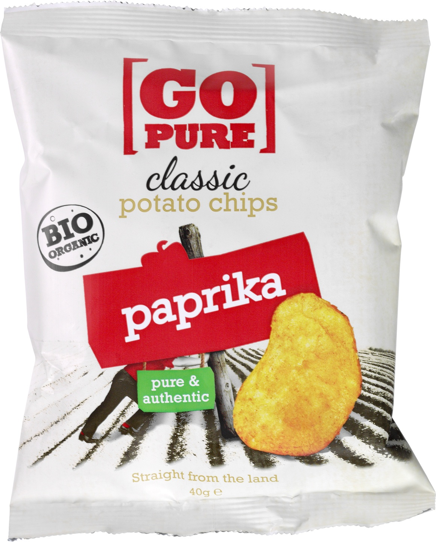 Biologische Go pure Classic chips paprika 40 gr
