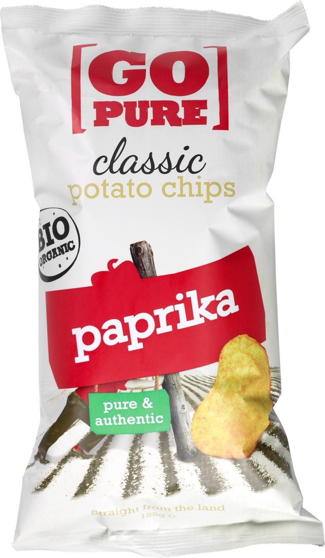Biologische Go pure Classic chips paprika 125 gr