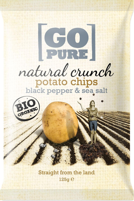 -21% SALE | Biologische Go pure Natural crunch chips black pepper & sea salt 125 gr