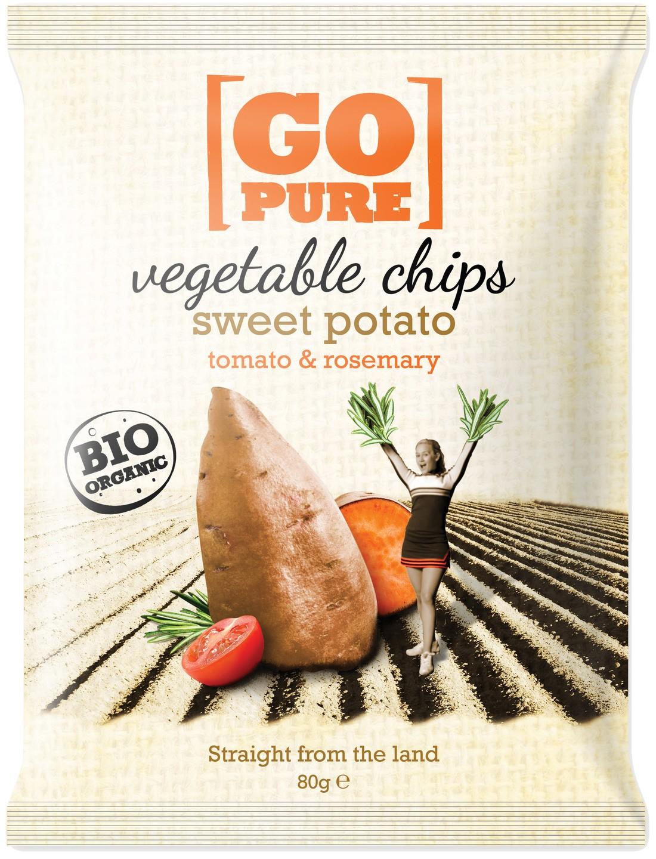 Biologische Go pure Vegetable chips sweet potato 80 gr