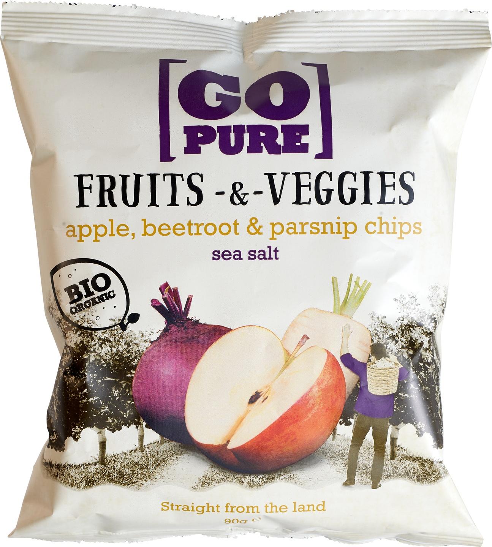 Biologische Go pure Fruits & Veggies chips sea salt 90 gr