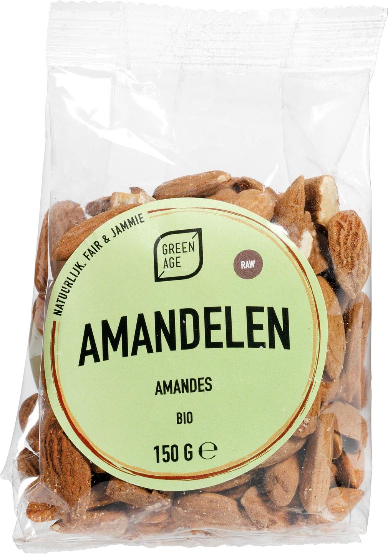 Biologische GreenAge Amandelen raw 150 gr
