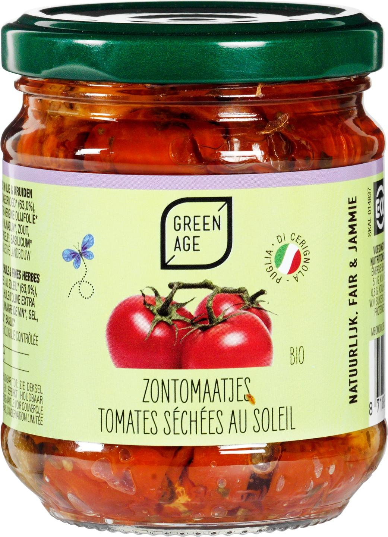 Biologische GreenAge Zongedroogde tomaatjes in olie 190 gr